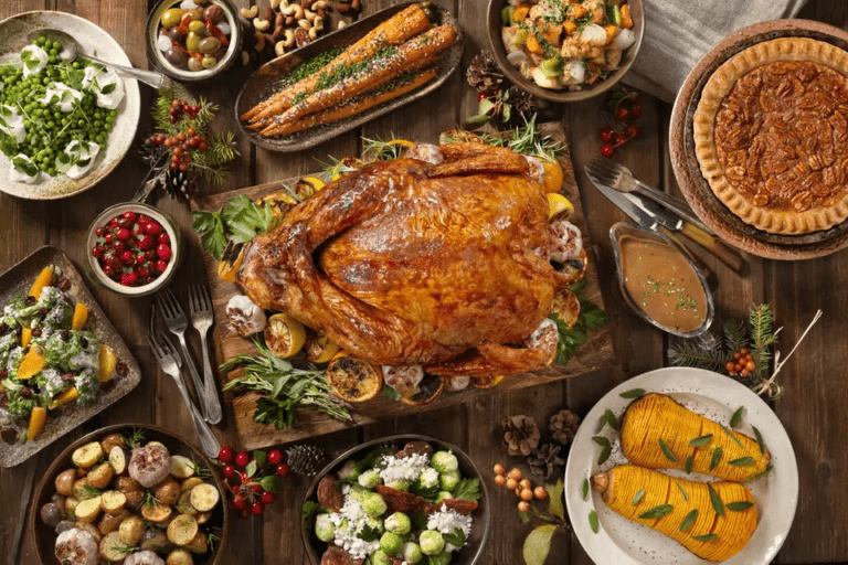 A table covered in a Thanksgiving feast