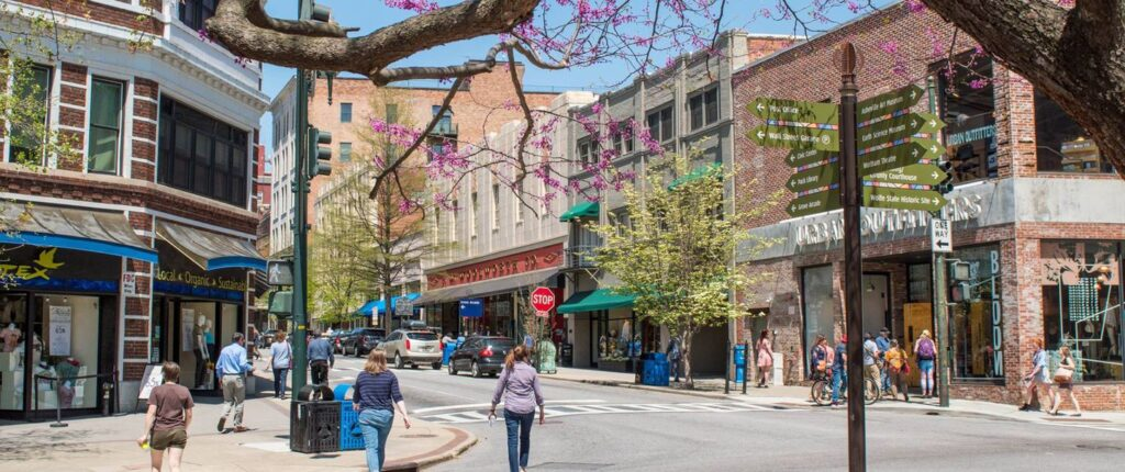A veiw of a corner of Downtown Asheville